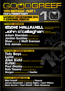 Goodgreef 10th birthday flyer