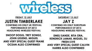 Line up at Wireless Festival