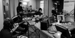 The band in a radio studio